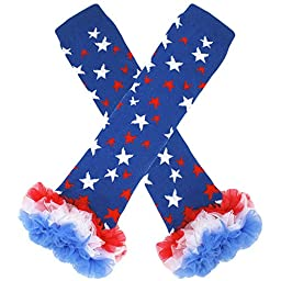 4th of July Chiffon Ruffle Leg Warmers Blue Stars