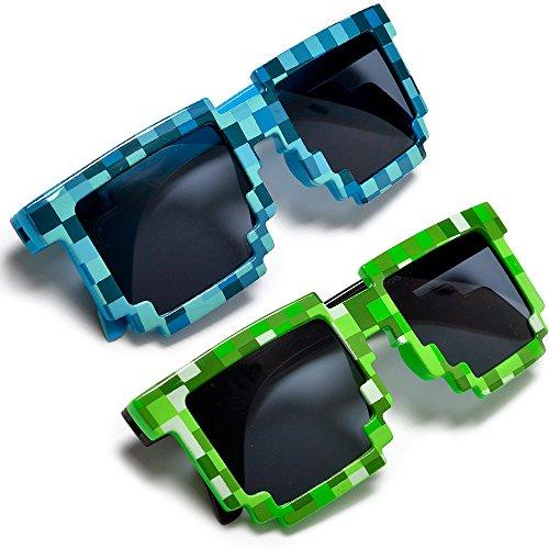 Sunglass Spot - Pixelated 8 Bit Kids And Adults Gamer Novelty Block Sunglasses Uv400 (2 Pack Creeper)