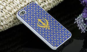 IMPURE New Blue With White Khanda PC Back Case Cover With Rubberized Coating iPhone 4 / 4S