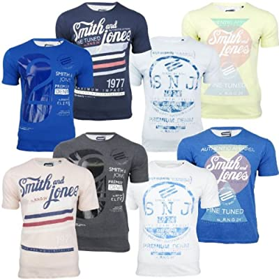 Herren T-shirt Smith & Jones 2 Packung Kurzärmelig D1 Bedruckt Jersey