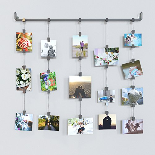 Wall Mount Hanging Photo Organizer Display Rail with Clips and Chains , Gray (Picture Organizer compare prices)