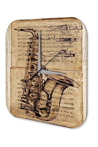Wanduhr-Star-Deko-Saxophon-Musikinstrument-Acryl-Fun-Uhr-Vintage-Retro