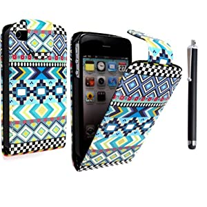 STYLEYOURMOBILE FOR APPLE IPHONE 4 4S DARK NEW AZTEC TRIBAL TRIBE PATTERN RETRO VINTAGE PRINT LEATHER FLIP CASE COVER POUCH