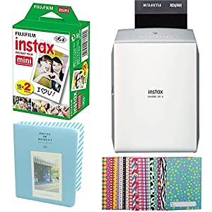 Fujifilm INSTAX SHARE SP-2 Smart Phone Printer (Silver) With Fujifilm INSTAX Mini Instant Film Twin Pack ( 20 Sheets) + Photo Album + Films Sticker Borders Bundle
