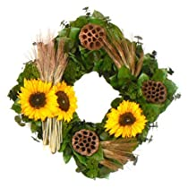 Floral Treasure Copper Sunflower Collection 17 in. Square Wreath