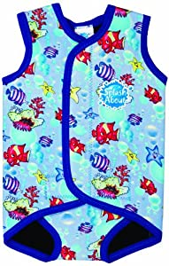 Splash About neoprene Baby Wrap (swimwear), Fish Print/red binding, Small, 0-6 mths
