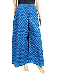 GiftPiper Cotton Hand Block Print Pakistani Palazzo Pants- Electric Blue