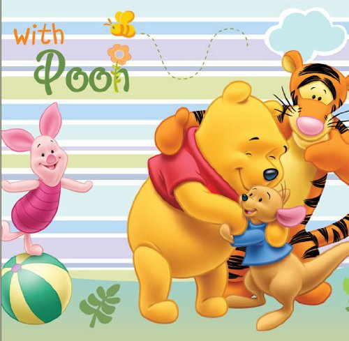 Disney winnie the pooh friends nursery vinyl wallpaper for Baby pooh and friends wall mural