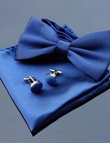 Uomini festa di nozze Bowties in poliestere con abbinamento di Hanky & Cufflink (10 colori),blu,One-Size