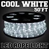 50ft Cool White 2-wire LED Rope Light Home Outdoor Christmas Flexible Holiday Lighting 100v