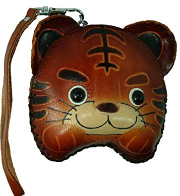 A Baby Tiger Design, Handmade Real Leather Coin Purse,Jewelry Holder W/wristlet Strap