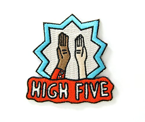 Buy Bargain High Five Embroidered Sew or Iron-on Backing Patch