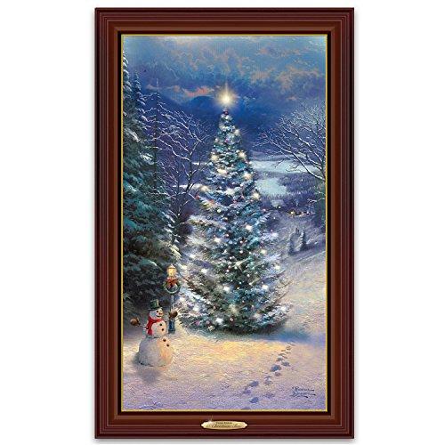 Thomas Kinkade O Christmas Tree Wall Hanging Framed Canvas Print That Lights Up by The Bradford Exchange