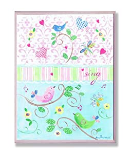 The Kids Room Sing Birds on Branches with Fleur De Lis Square Wall Plaque