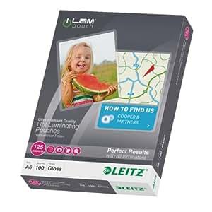 Leitz - Lot de 100 Pochettes de Plastification A6 125 Microns