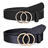 2 Pack Women Leather Belts Faux Leather Jeans Belt with Double O Ring Buckle (Black & Black, M) (Color: 2 Pack ( Black + S-black), Tamaño: M: fits waist from 30