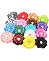 17 Piece Gerber Daisy Hair Bow Clips- Multi Color Baby Gift Pack From Hairbowsales (1 Per Color)