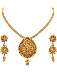 JFL - Traditional & Ethnic One Gram Gold Plated Sprial Designer Pendant Set With Earring For Girls & Women