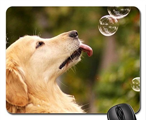 Dog eats soap bubbles Mouse Pad, Mousepad (Dogs Mouse Pad)