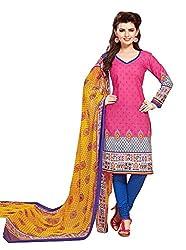 PADMiNi Ethnicwear Women's Dress Material Pink 1015