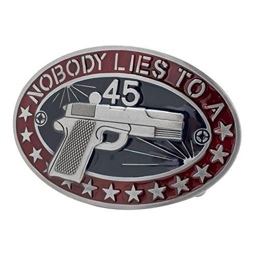 Buckle Rage Adult Unisex Nobody Lies to a 45 Gun Star Southern Belt Buckle Black