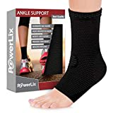 PowerLix Ankle Brace Compression Support Sleeve (Pair) for Injury Recovery, Joint Pain and More. Plantar Fasciitis Foot Socks with Arch Support, Eases Swelling, Heel Spurs, Achilles Tendon (Color: Black, Tamaño: Large)