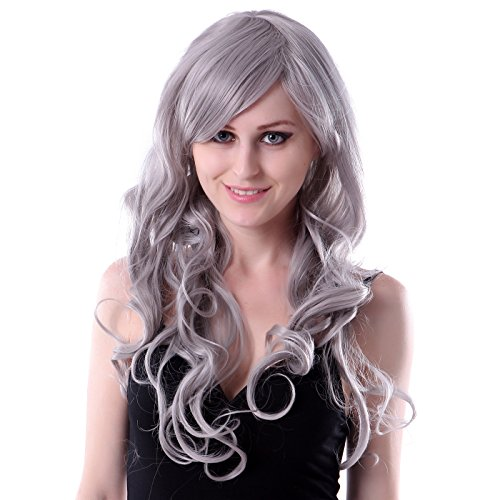 HDE Gray Long Wavy Curly Cosplay Halloween Costume Party Wig