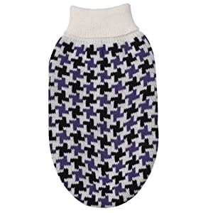 East Side Collection Acrylic Ultra Violet Houndstooth Check Dog Sweater, X-Small, 10-Inch, (Color Vary)