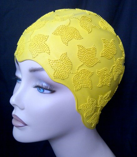 Ladies Yellow Swimming Bathing Cap Swim Hat Small Fitting Fashy Retro Vintage Style