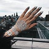TribeTats Mykonos White Temporary Tattoos with Silver Metallic | Henna-Inspired Body Art | Music Festival Accessories | No Scissors Required | Mandalas, Elephants, Hamsas, Arrows, Flowers