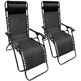 Set of 2 Black Textoline Zero Gravity Reclining Garden Sun Lounger Chairs RRP £199.99