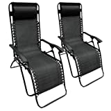 Set of 2 Black Textoline Zero Gravity Reclining Garden Sun Lounger Chairs + FREE SPRAY GUN RRP £199.99