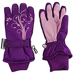 N\'Ice Caps Girls Thinsulate and Waterproof Winter Gloves with Flower Tattoo Print (3-4yrs, Neon Purple/Pink)