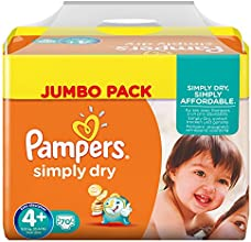 Pampers Windeln Simply Dry Gr. 4+ Maxi Plus 9-20 kg Jumbo Pack, 2er Pack (2 x 70 Stück)