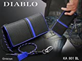 DIABLO 牛革 パンチング 加工 カラー ライン ドット 長財布 KA-801 BL ブラック メタリック ブルー 黒 青