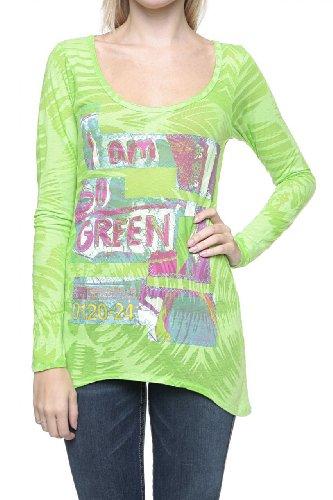 Custo Barcelona Maglia a Manica Lunga STERN SO GREEN, donna, Colore: Verde, Taglia: M