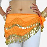 Chiffon Dangling Gold Coins Belly Dance Hip Scarf, Vogue Style -orange