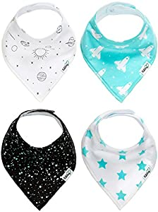 Nikitony Baby Bandana Drool Bibs - Super Soft And Absorbent With Adjustable Snaps - Great For Teething - Cute Boys Gift Set Of Space Style - 4 Pack