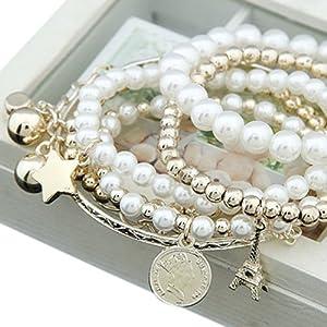Damen Unique Jewelry Gold Metal Perle mehrschichtiges Armband Anhänger Schmuck