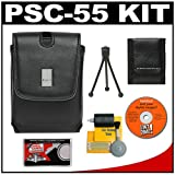 Canon PowerShot PSC-55 Deluxe Leather Compact Case + Cameta Accessory Kit for SD1100 IS, SD1000, SD950 IS, SD900, SD890 IS, SD870 IS, SD850 IS, SD800 IS, SD790 IS, SD770 IS, SD750, SD700 IS, SD630, SD550 Digital Cameras
