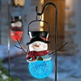 Collections Etc - Solar Sammy Snowman Holiday Garden Stake