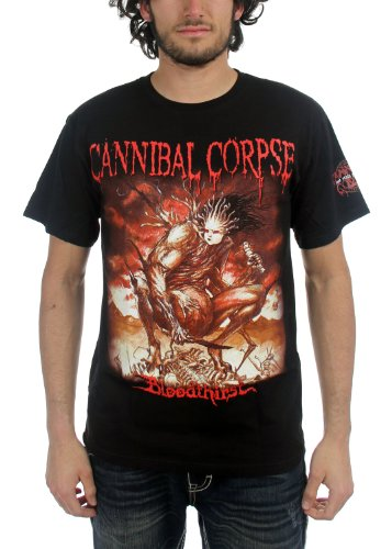 Cannibal Corpse - Uomo Bloodthirst CencoRosso T-Shirt In Nero, X-Large, Nero