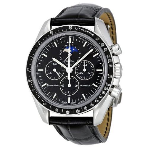 Omega Men's 3876.50.31 Speedmaster Moon Phase Black Dial Watch: Omega