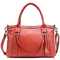 PASTE Women's New Style Cow Leather Totes/Shoulder Bag,Handbag bag With Tassels Watermelon Red