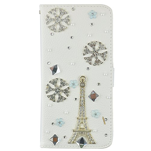 LG G3 Case, JCmax High Quality Handmade Bling Crystal Diamond White PU Leather Wallet Case [Stand Cover] Anti-Slip Cover With Card Slots and Magnetic Flip For LG G3 + One Stylus -Tower