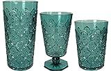Le Cadeaux Moroccan 12 Piece Set Teal Shatter Proof Glassware