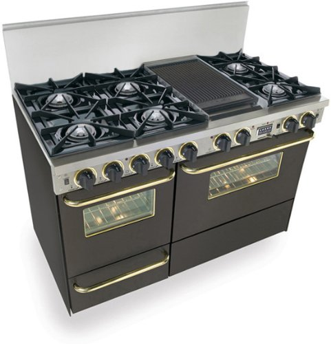 "48"" Pro-Style Dual-Fuel Range with 6 Open Burners Vari-Flame Simmer on Front Burners 3.69 cu. ft. Convection Oven Self-Cleaning and Double Sided Grill/Griddle Black with Brass"