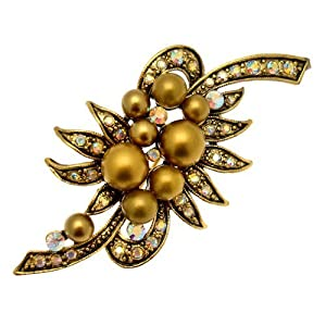 Acosta Brooches - Gold Tone Faux Pearl & Crystal - Floral Bouquet Brooch