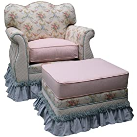 Angel Song Blossoms & Bows Empire Adult Rocker Glider Chair - Down Filled