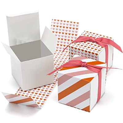 Hortense B. Hewitt Reversible Damask Wrap Favor Boxes Wedding Accessories, Set of 25